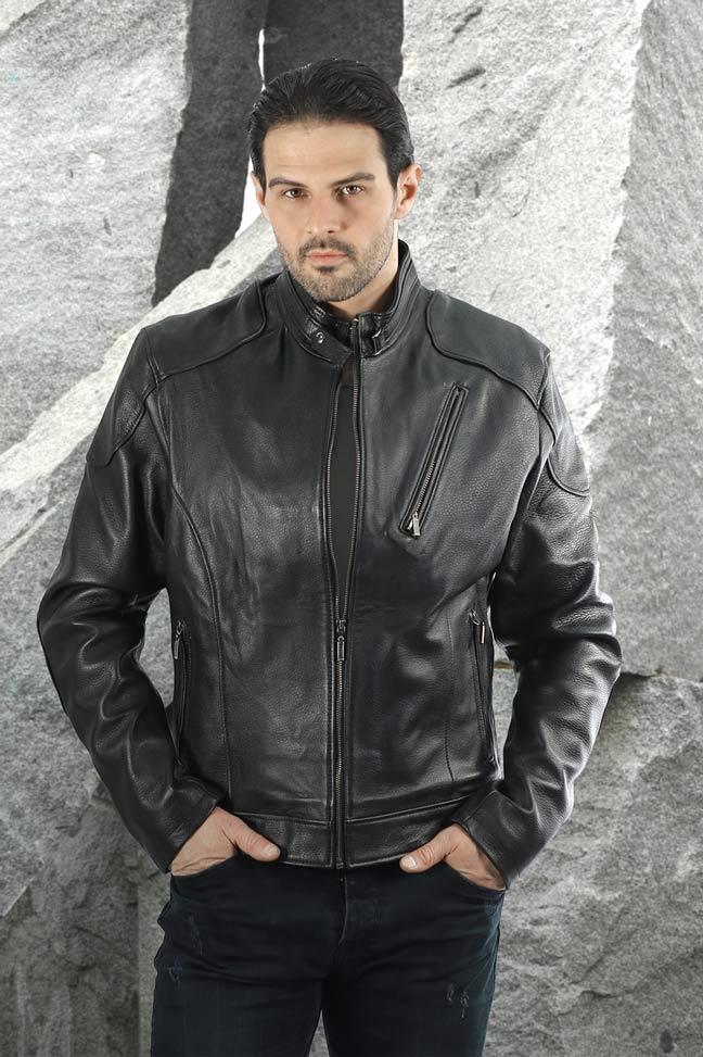 Muška kožna jakna - Alex TK - Mat crna