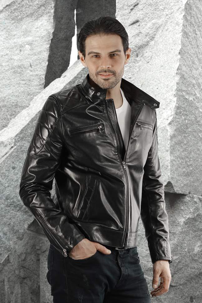 Muška kožna jakna - David - Crna