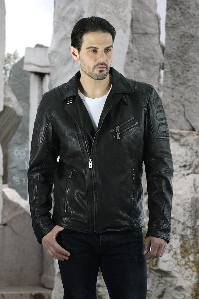 Muška kožna jakna - Fratteli Dario - Crna