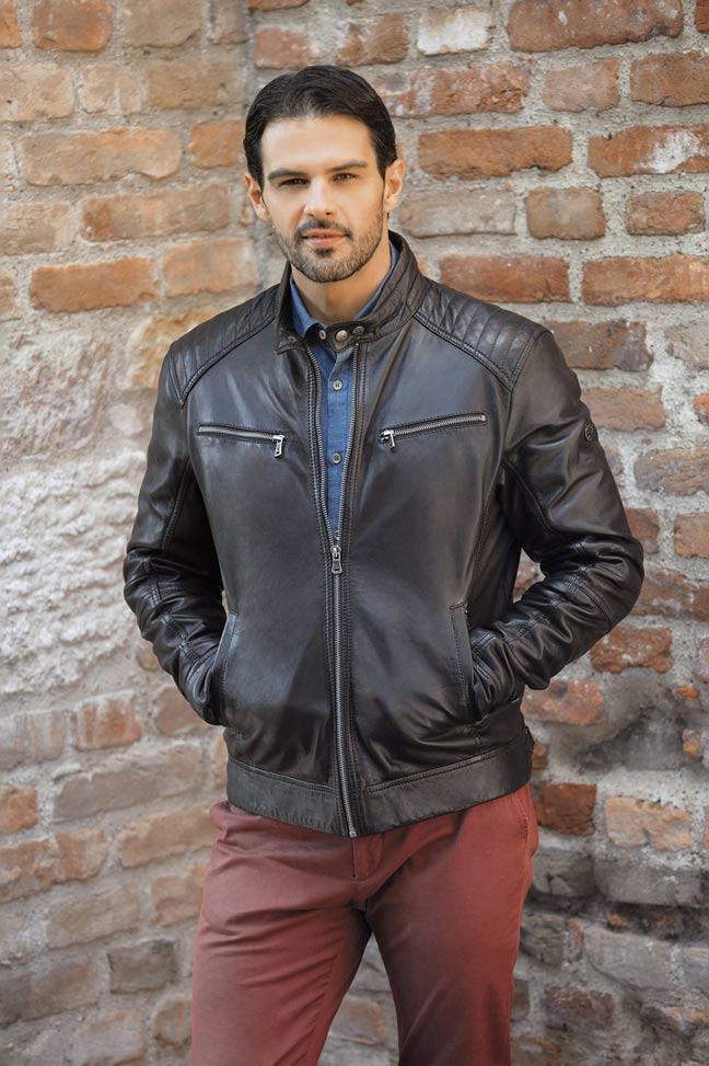 Muška kožna jakna - Fratteli Flavio - Crna