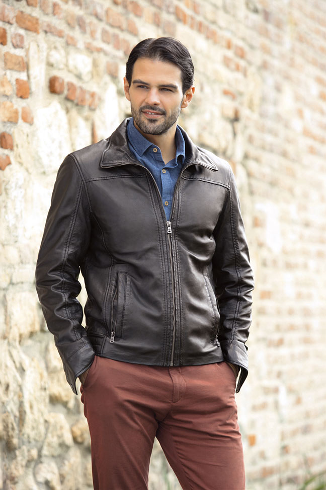 Muška kožna jakna - Fratteli Lorens - Crna