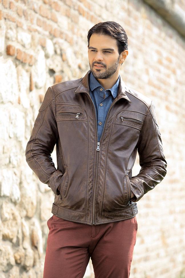 Muška kožna jakna - Fratteli Mario - Antik braon