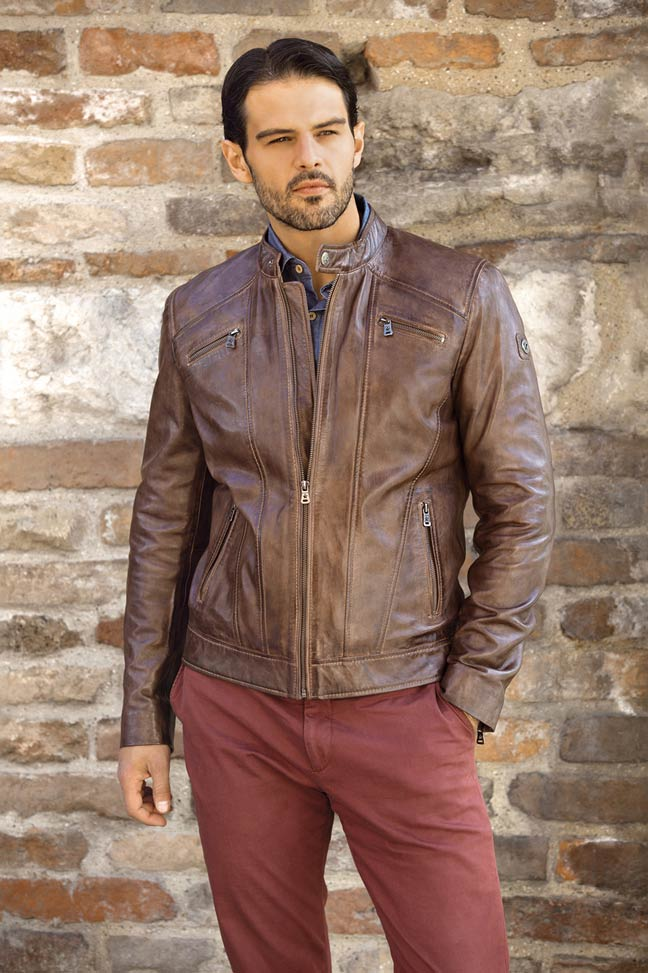 Muška kožna jakna - Fratteli Nestor - Braon