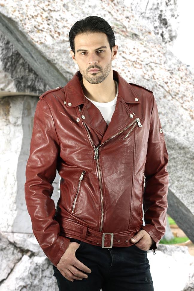Muška kožna jakna - Fratteli Perfecto - Crvena