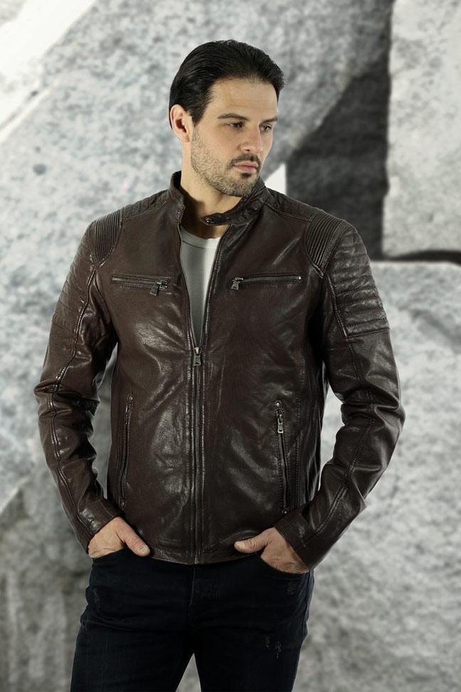 Muška kožna jakna - Fratteli Tomi - Tamno braon