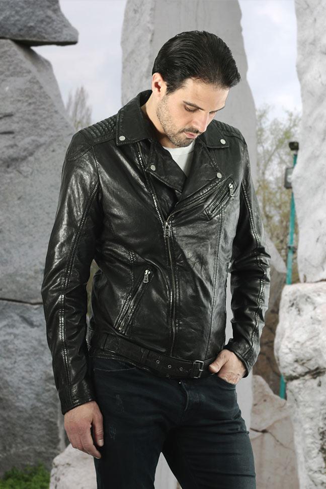 Muška kožna jakna - Fratteli Will - Crna