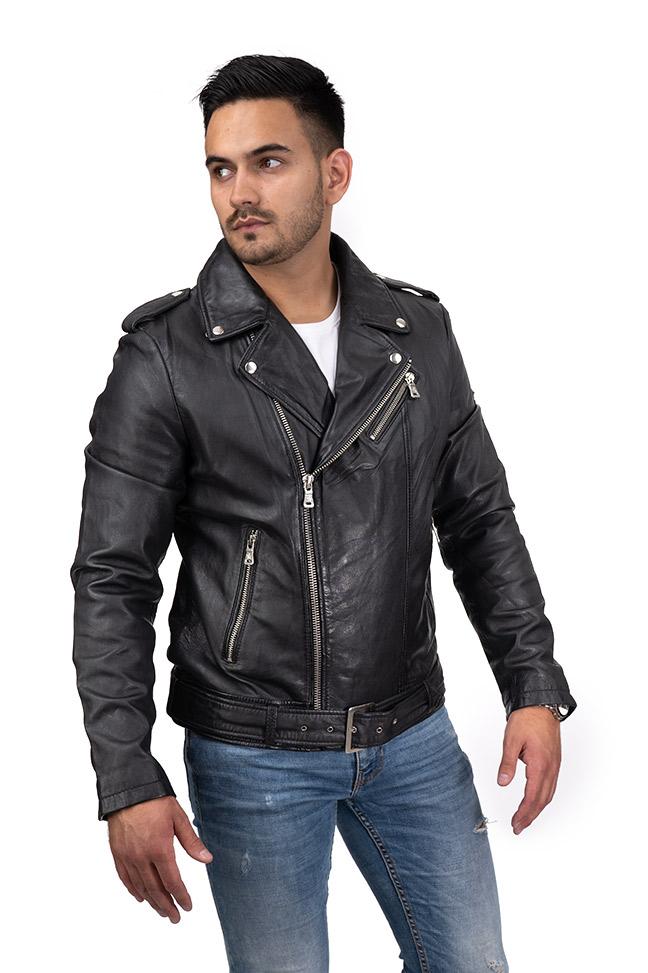Muška kožna jakna - Fratteli Perfecto - Crna