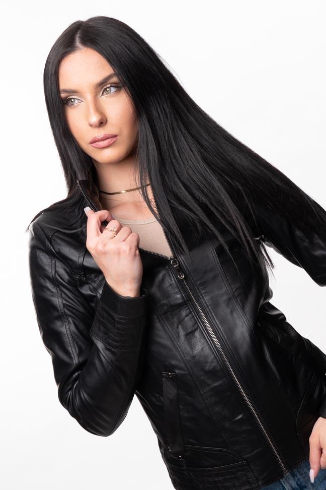 Ženska kožna jakna - Elena - Crna