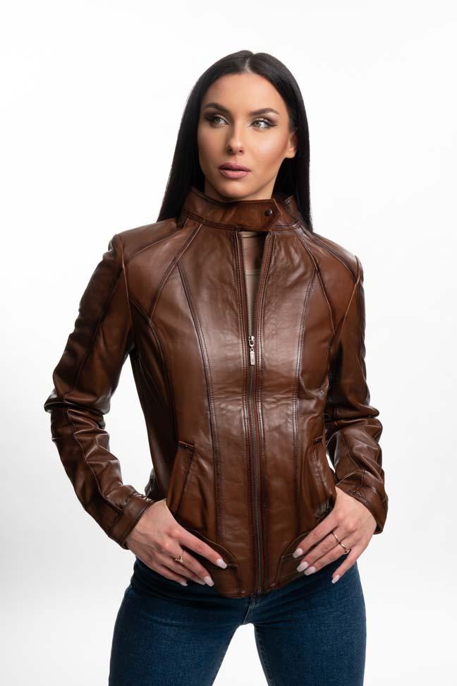 Ženska kožna jakna - Elena - Svetlo braon melirana