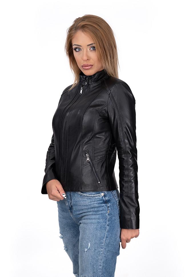 Ženska kožna jakna - Eva - Crna