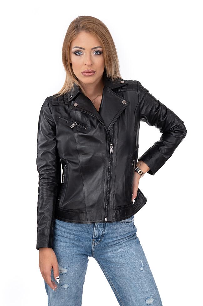 Ženska kožna jakna - Ramona - Crna