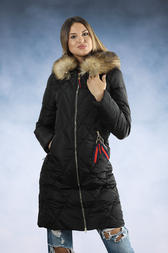 Ženska zimska jakna - Parka - 8761 - Crna