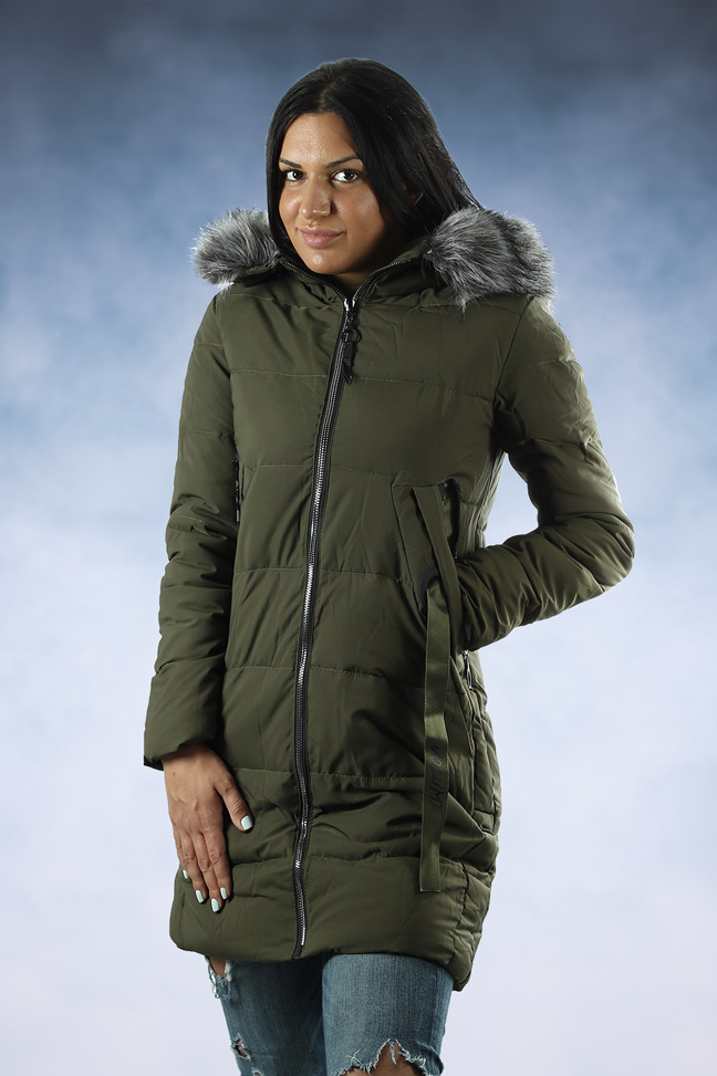 Ženska zimska jakna - Sportska i Casual - 007-29 - Maslinasto zelena