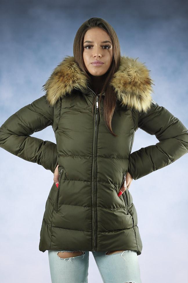 Ženska zimska jakna - Sportska i Casual - MF M02 - Maslinasto zelena