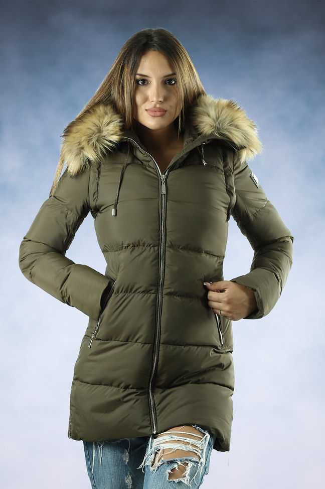 Ženska zimska jakna - Sportska i Casual - MF M05 - Maslinasto zelena