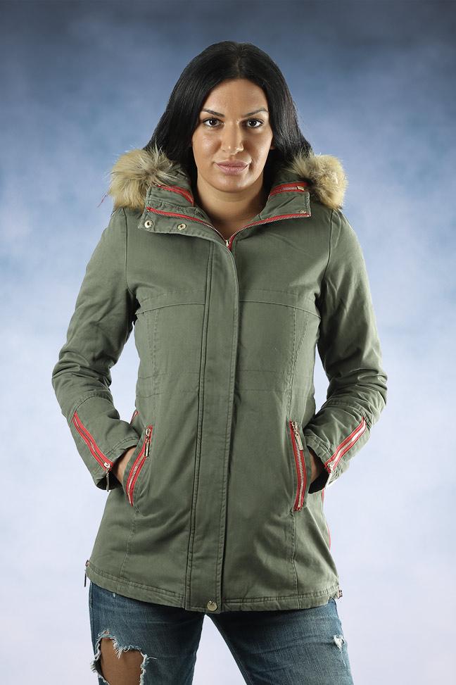 Ženska zimska jakna - Sportska i Casual - MF M888 - Maslinasto zelena