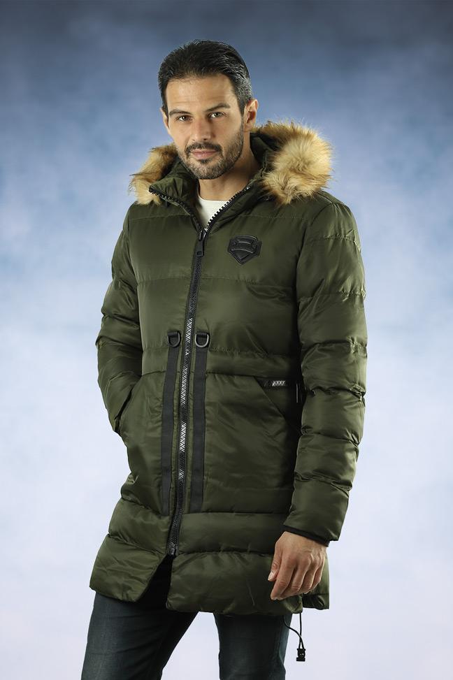 Muška zimska jakna - Sportska i Casual - 33181 - Maslinasto zelena