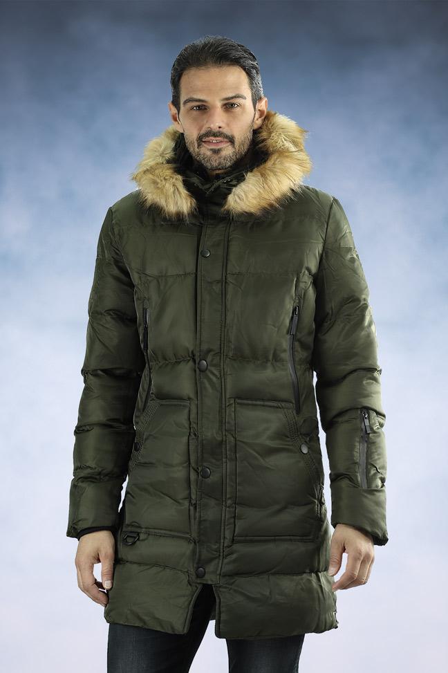 Muška zimska jakna - Sportska i Casual - 33182 - Maslinasto zelena