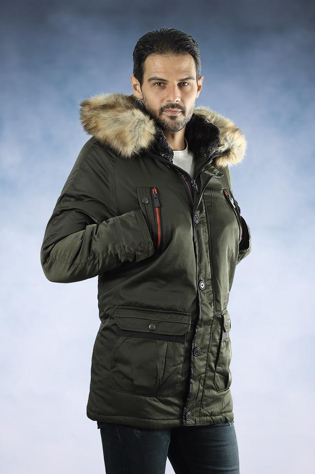 Muška zimska jakna - Sportska i Casual - 4311 - Maslinasto zelena