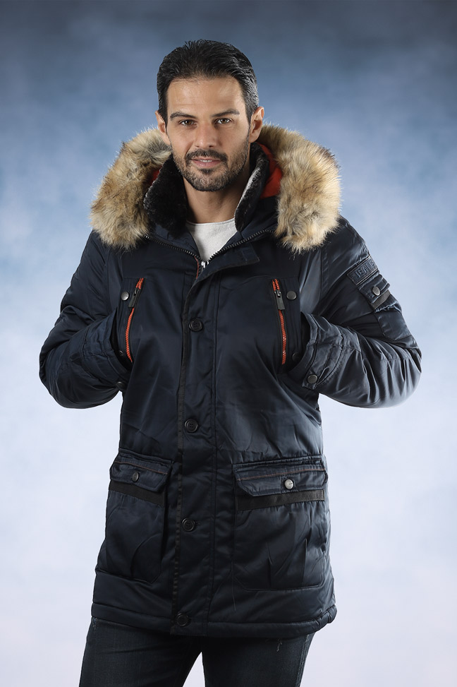 Muška zimska jakna - Sportska i Casual - 4311 - Teget