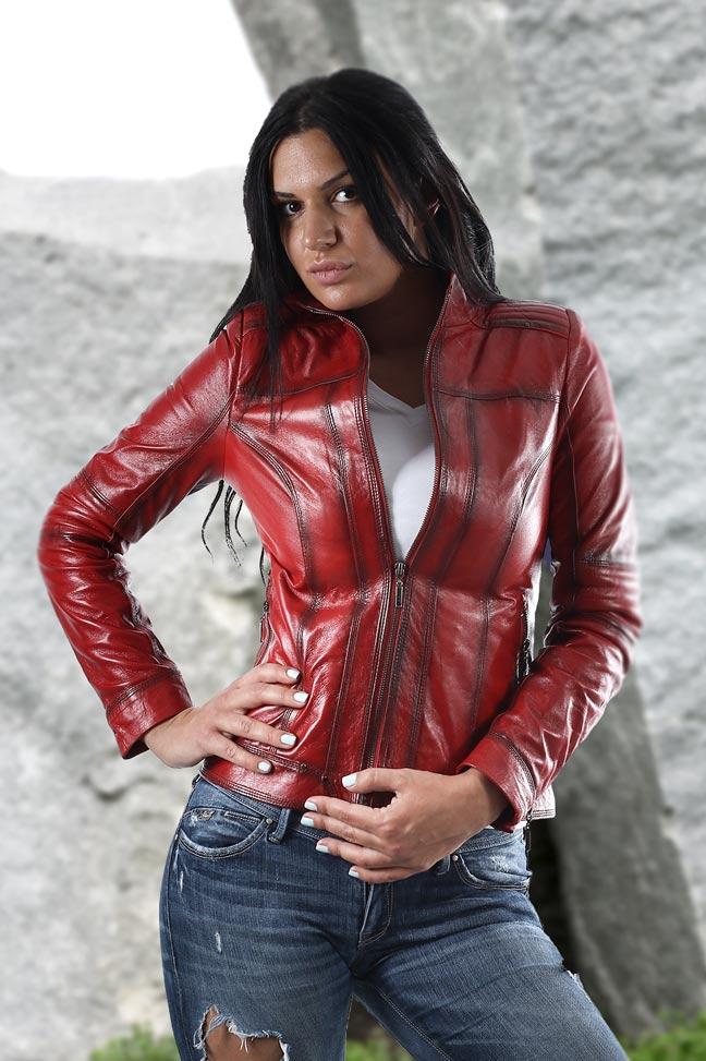 Ženska kožna jakna - Monica – Crvena melirana