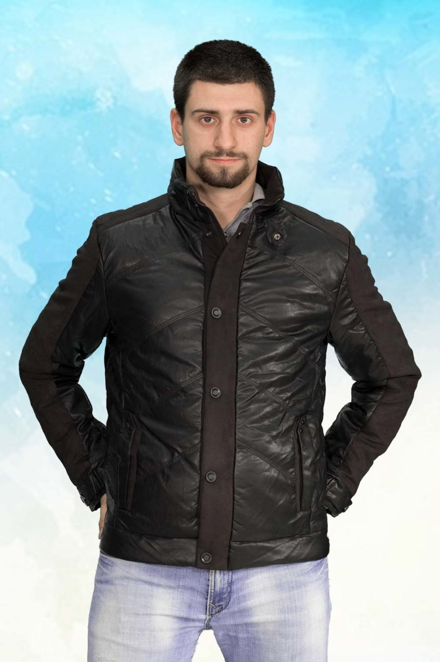 Muška prolećna jakna - Sportska i Casual -ALN-52161-Crna