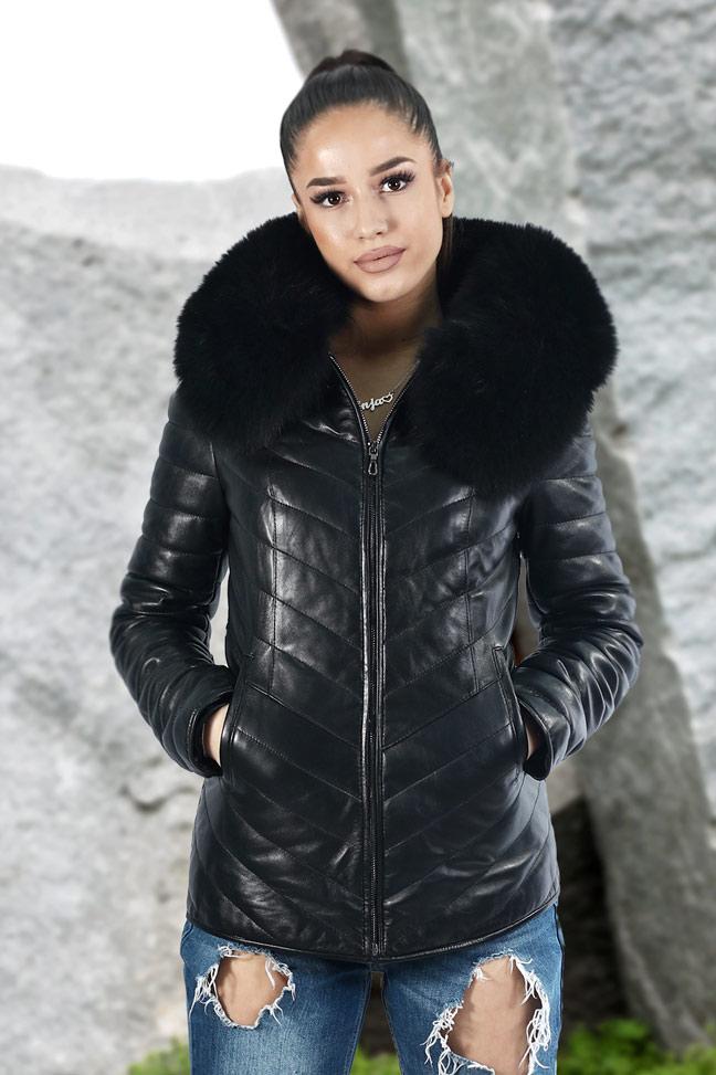 Ženska kožna jakna sa krznom - Nikki - Crna, crno krzno