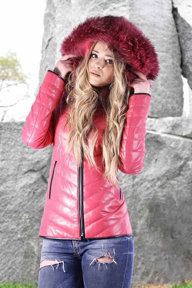 Ženska kožna jakna sa krznom - Nikki - Roze, roze krzno