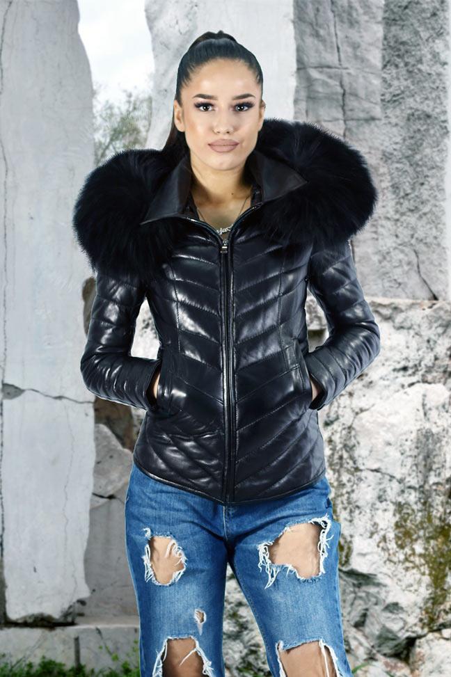 Ženska kožna jakna sa krznom - Tiffany - Crna, crno krzno