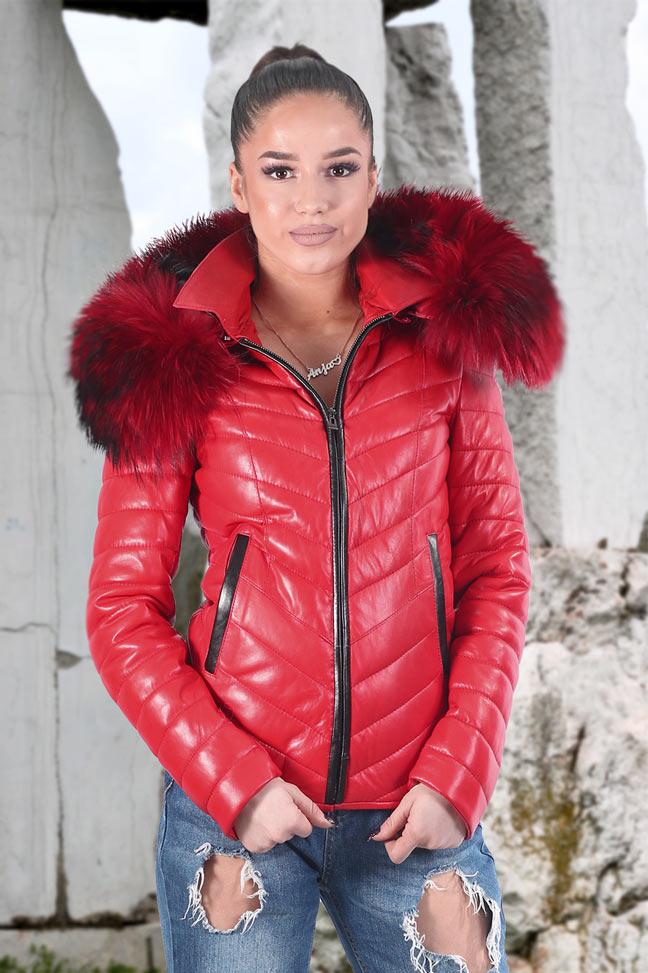 Ženska kožna jakna sa krznom - Tiffany - Crvena, crveno krzno