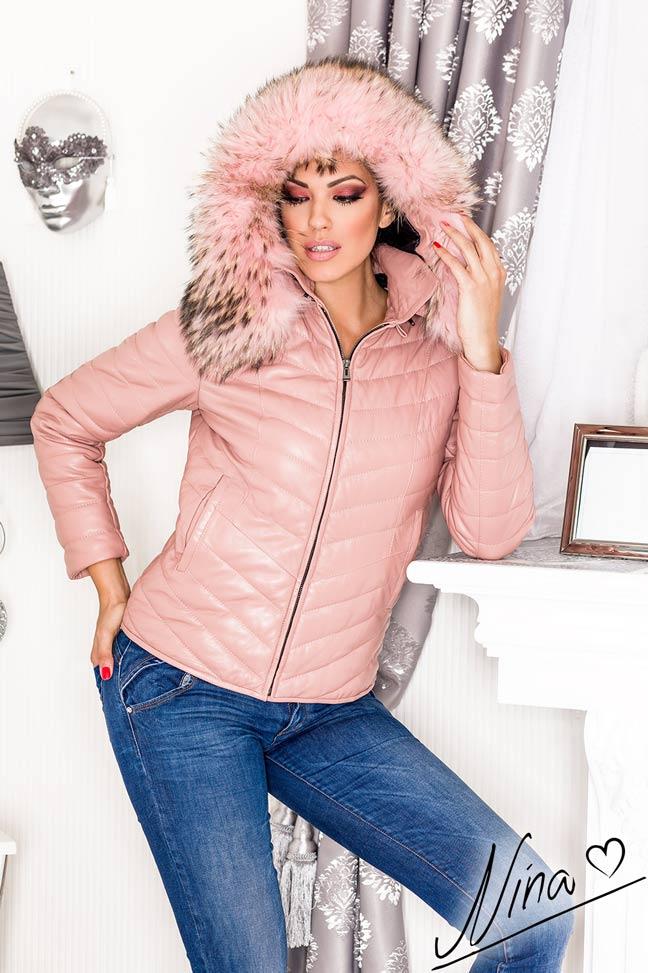 Ženska kožna jakna sa krznom - Tiffany -Puder roze, puder roze krzno