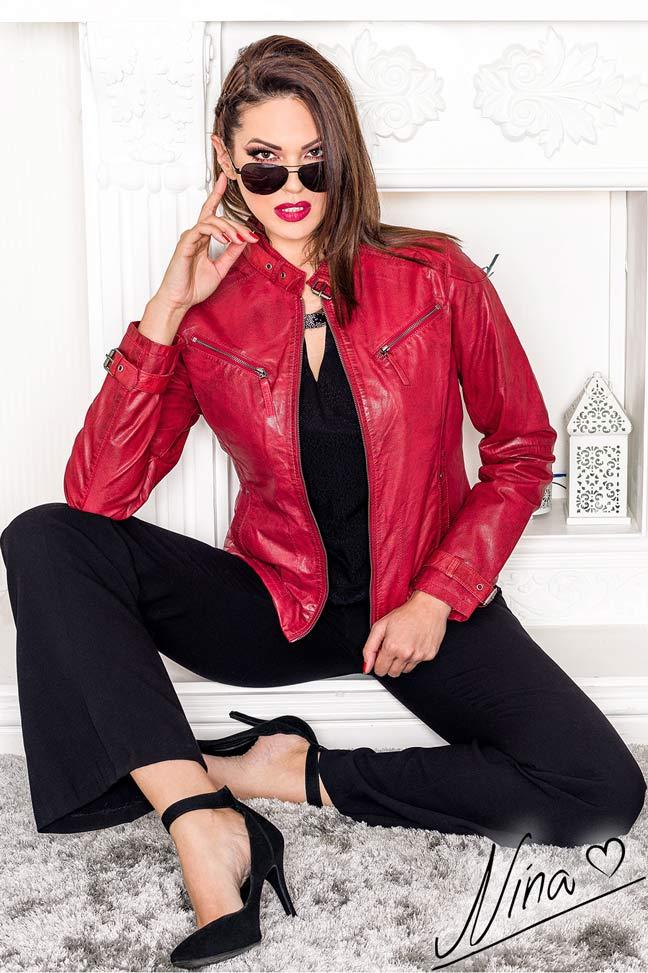 Ženska kožna jakna - Vivien - Crvena