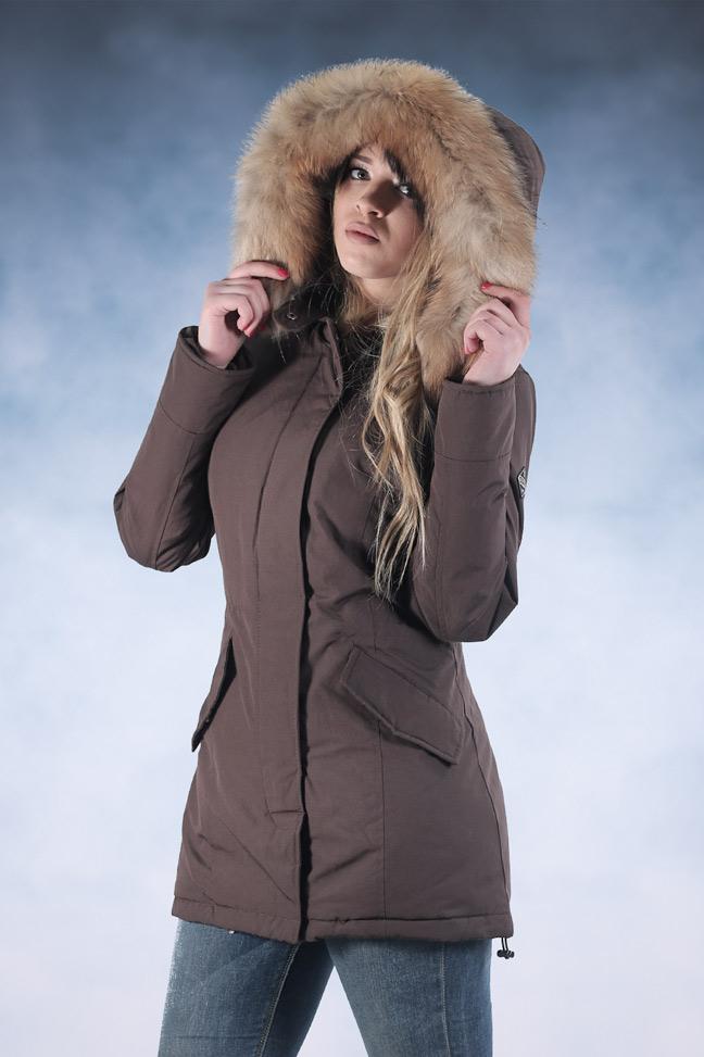 Ženska zimska jakna - Parka - Staff Eva - Svetlo braon