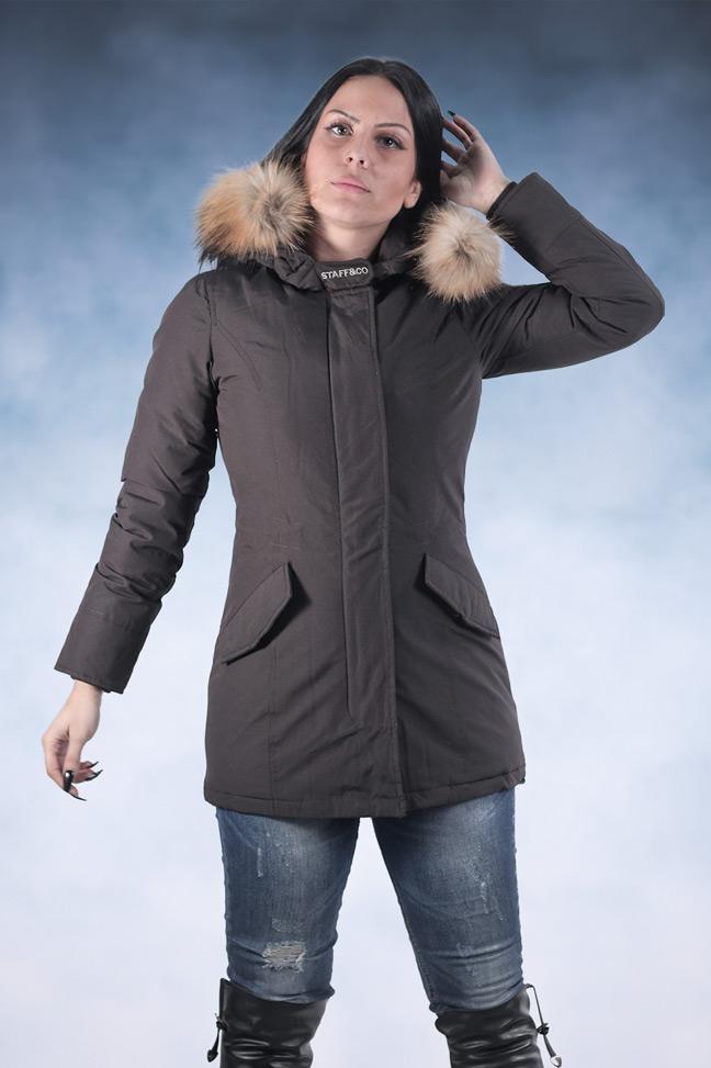 Ženska zimska jakna - Parka - Staff Eva - Tamno braon