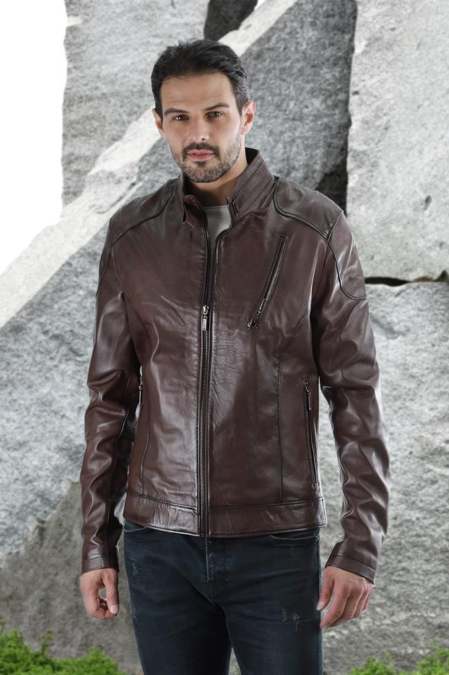 Muška kožna jakna - Alex JK – Braon