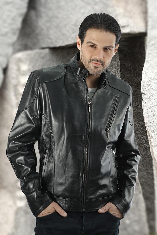 Muška kožna jakna - Alex JK – Crna