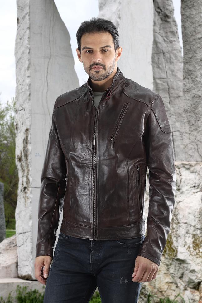 Muška kožna jakna - Alex TK – Braon