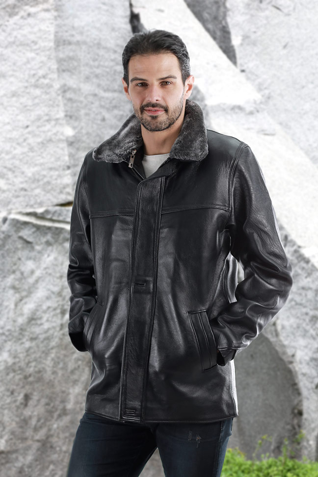 Kožna jakna Luciano TK - Crna