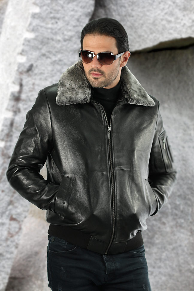 Muška kožna pilotska jakna - Gordon TK – Crna