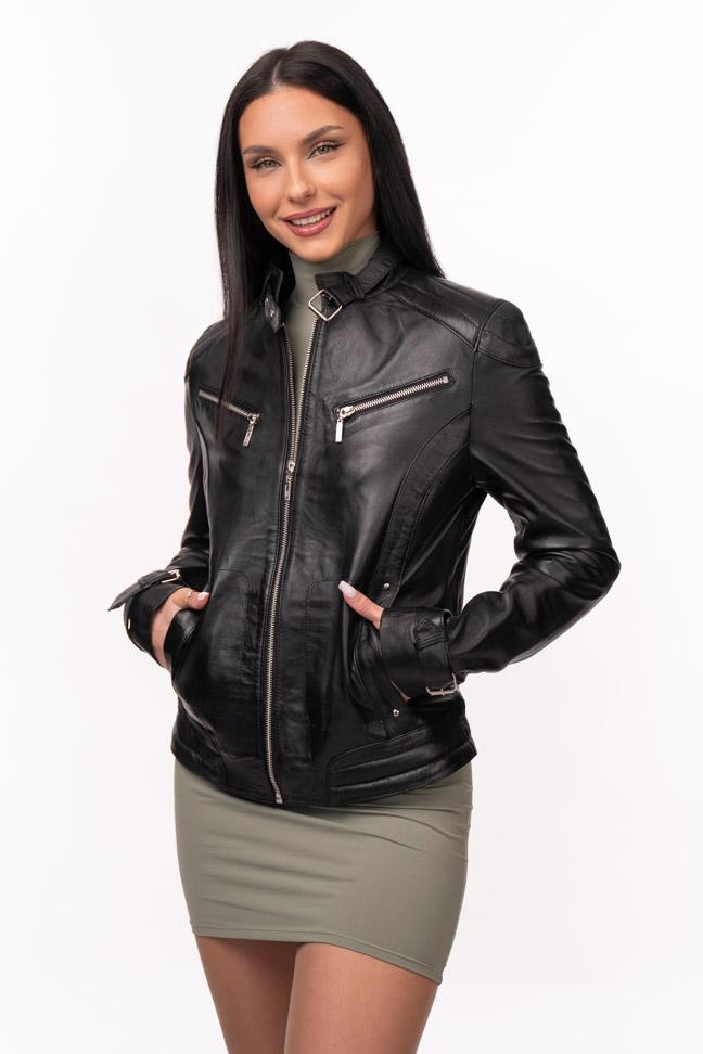 Ženska kožna jakna - Vivien - Crna