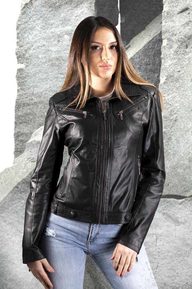 Ženska kožna jakna - Linzi - Crna