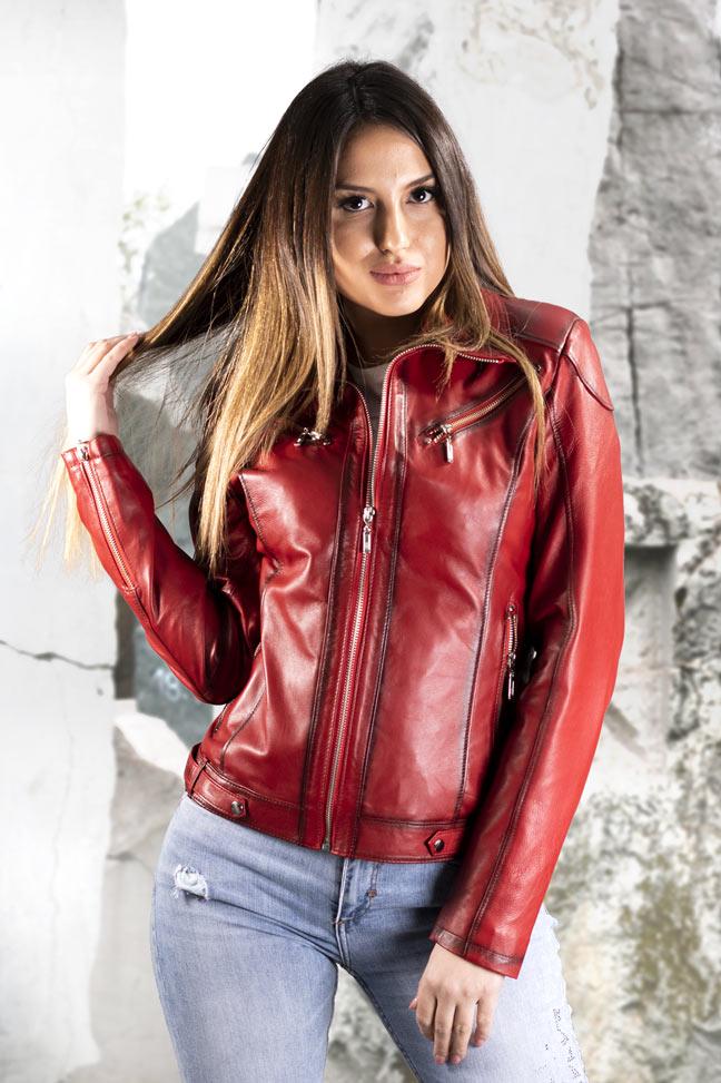 Ženska kožna jakna - Linzi - Crvena melirana