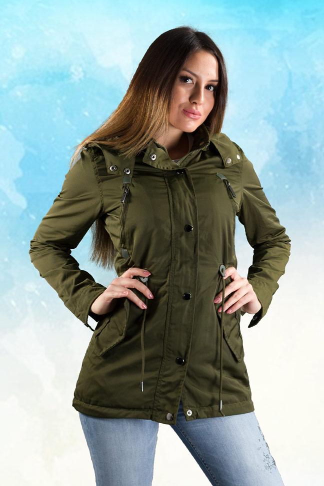 Ženska prolećna jakna - Parka - 70113 - Zelena