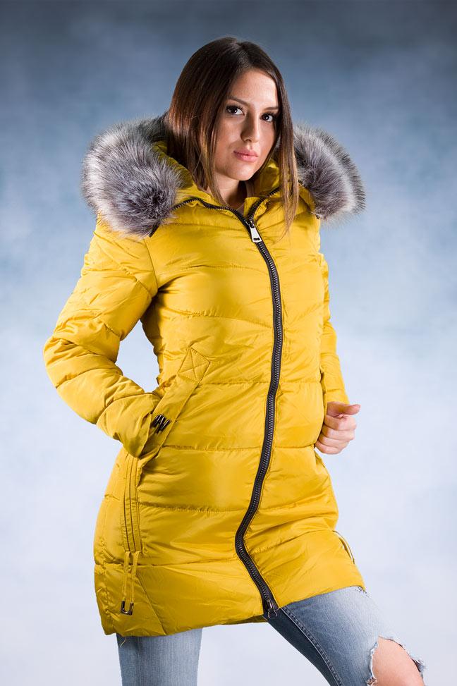Ženska zimska jakna – Sportska i Casual – 9925 – Žuta