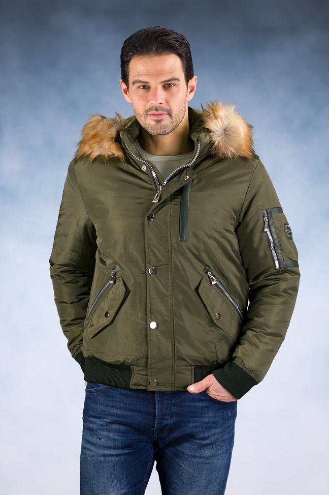 Muška zimska bomber jakna – 88661 – Maslinasta