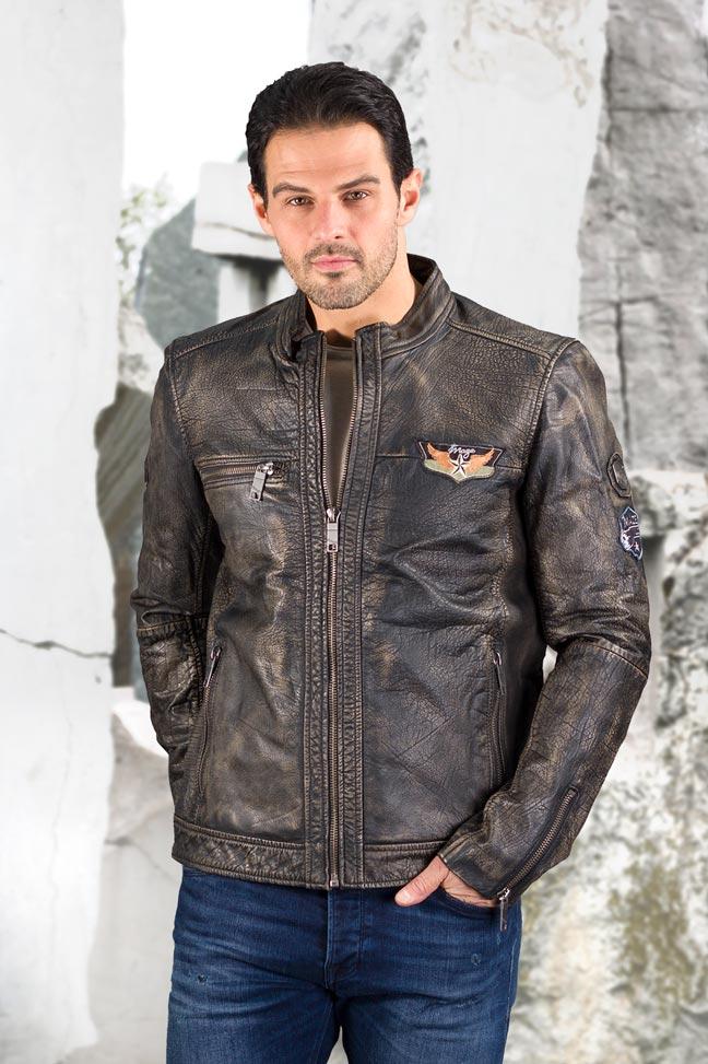 Muška kožna jakna - Stinger 015 - Braon