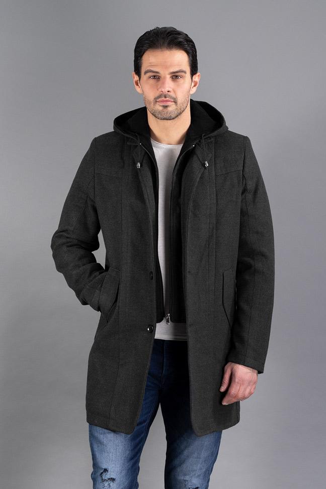 Muški kaput - 0328 - Tamno siva
