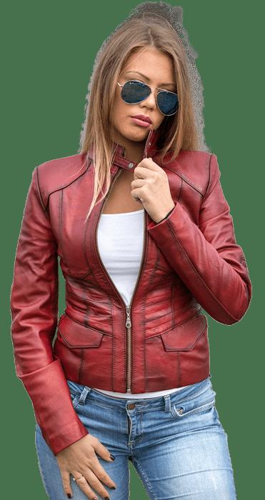 Ženska kožna jakna – Julia – Bordo melirana