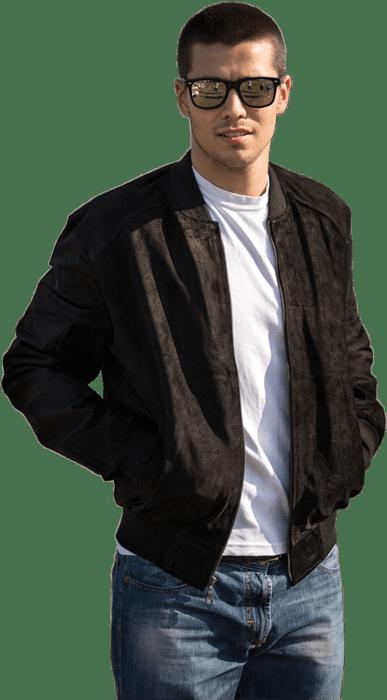 Muška kožna jakna – Bokserica – Stanley – Crna velur