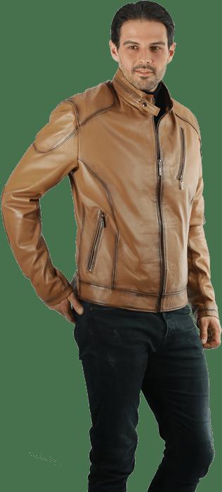 Muška kožna jakna Alex – Svetlo braon melirana